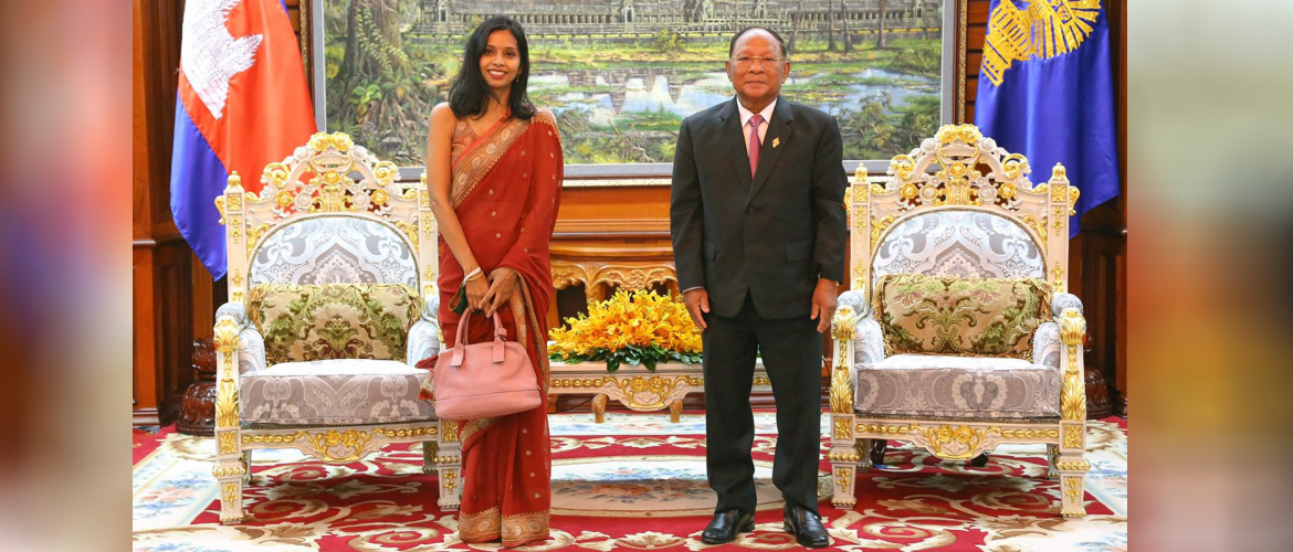 Ambassador Devyani Khobragade paid a courtesy call on esteemed Samdech Heng Samrin, President of the National Assembly